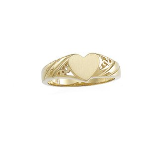 14kt Yellow Gold Signet Heart Ring