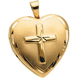 14kt Yellow Gold Teen Heart with Cross Locket
