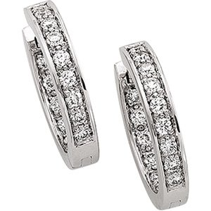 14kt White Gold Hinged Diamond Earring