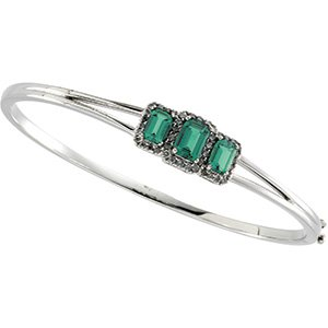 14kt White Gold Chatham Created Emerald & Diamond Bracelet