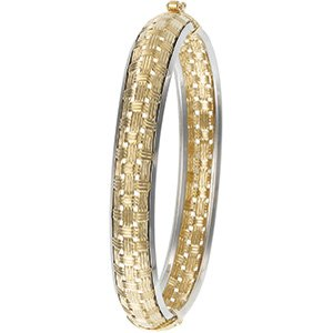 14kt Two Tone Gold Hinged Bracelet