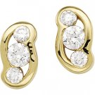 14kt Yellow Gold Cubic Zirconia Three Stone Earring