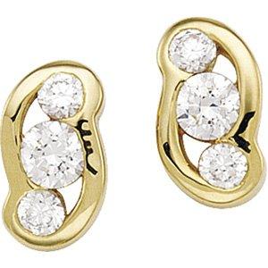 14kt Yellow Gold Cubic Zirconia Three Stone Earring
