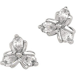 14kt White Gold Cubic Zirconia Three Stone Earring