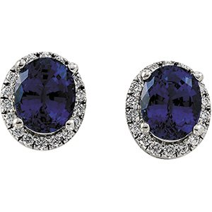 14kt Two Tone Gold Chatham Created Blue Sapphire & Diamond Earring