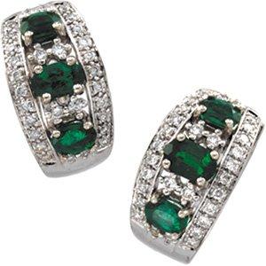 14kt White Gold Emerald & Diamond Earring