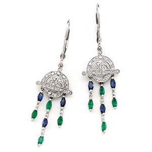 14kt White Gold Sapphire, Emerald & Diamond Earring