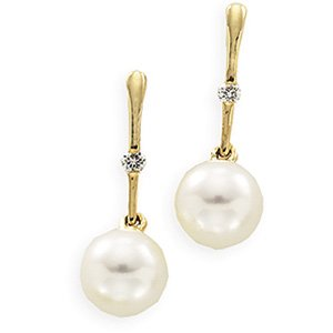 14kt Yellow Gold Freshwater Cultured Pearl & Diamond Earring
