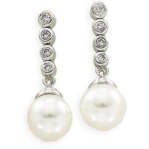 14kt White Gold Freshwater Cultured Pearl & Diamond Earring