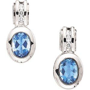 Sterling Silver Swiss Blue Topaz & Cubic Zirconia Earring