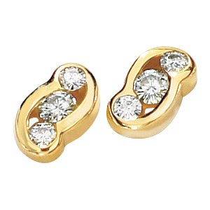 14kt Yellow Gold .25 ctw Created Moissanite 3 Stone Earring