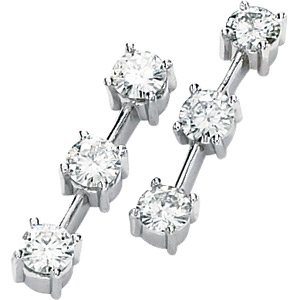 14kt White Gold 2 ctw Created Moissanite 3 Stone Earring