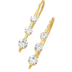14kt Yellow Gold 1 ctw Created Moissanite 3 Stone Earring
