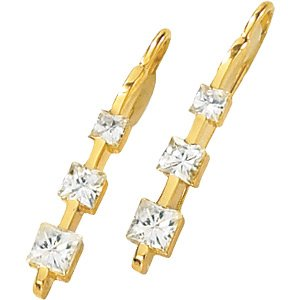 14kt Yellow Gold 1.2 ctw Created Moissanite 3 Stone Earring