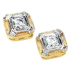 14kt Two Tone Gold .33 ctw Created Moissanite Earring