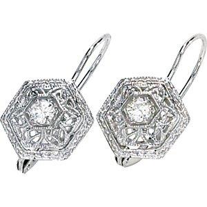 14kt White Gold .25 ctw Created Moissanite Earring