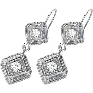 14kt White Gold .33 ctw Created Moissanite Earring