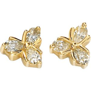 14kt Yellow Gold 1.37 ctw Created Moissanite Earring