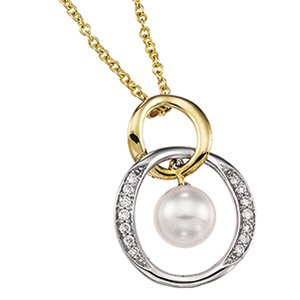 14kt Two Tone Gold Akoya Pearl & Diamond Necklace