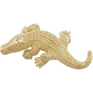 14kt Yellow Gold Electroform Alligator Brooch