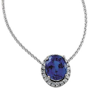 14kt Two Tone Chatham Created Blue Sapphire & .50 ctw Diamond Necklace