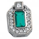 14kt White Gold Chatham Emerald & .13 ctw Diamond Pendant