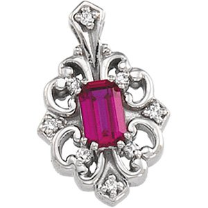 14kt White Gold Chatham Created Ruby & Diamond Pendant