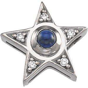 14kt White Gold Saphhire & Diamond Pendant
