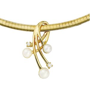 14kt Yellow Gold Diamond & Akoya Pearl Pendant