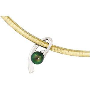 14kt White Gold Diamond & Black Cultured Pearl Pendant