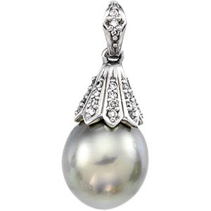 14kt White Gold Tahitian Pearl & Diamond Pendant