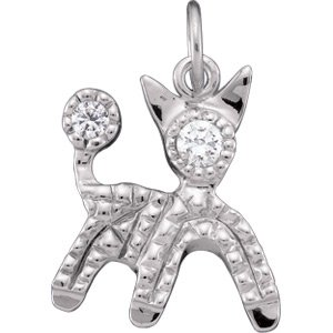 14kt Yellow Gold Cubic Zirconia Dog