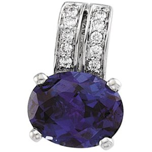 14kt White Gold Created Alexandrite & Diamond Pendant