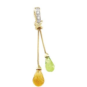 14kt Yellow Gold Peridot, Citrine & Diamond Pendant