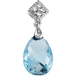 14kt White Gold Swiss Blue Topaz & Diamond Pendant