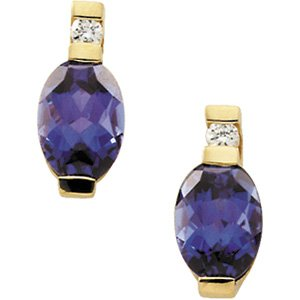 14kt Yellow Gold Chatham Created Alexandrite & Diamond Earring