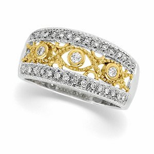 14kt Two Tone Gold Diamond Bridal Anniversary Band Ring