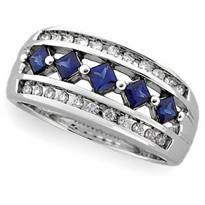 14kt White Gold Blue Sapphire Diamond Anniversary Band