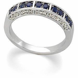 14kt White Gold Sapphire & Diamond Anniversary Band Ring