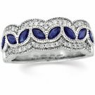 14kt White Gold Diamond & Sapphire Anniversary Band Ring