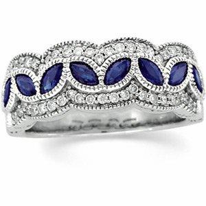 14kt White Gold Diamond & Sapphire Anniversary Band Ring