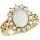 14kt Yellow Gold Opal & Cultured Pearl Ring