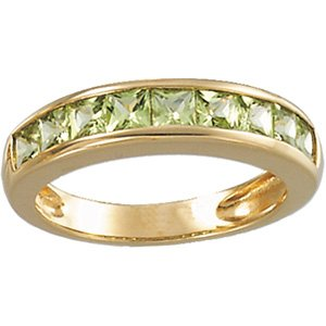 14kt Yellow Gold Peridot Channel Ring