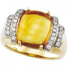 14kt Yellow Gold Citrine & Diamond Ring