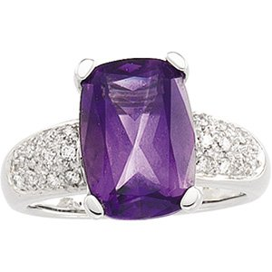 14kt White Gold Amethyst & Diamond Ring