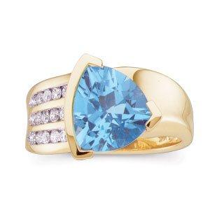 14kt Yellow Gold Swiss Blue Topaz & Diamond Ring