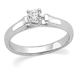 14kt White Gold Solitaire Diamond Engagement Ring