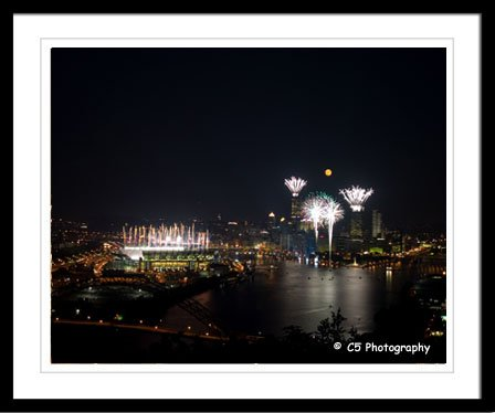 Pitsburgh 21a - Full Moon and Fireworks for Steelers Photograph