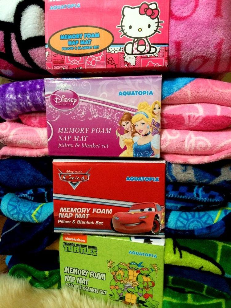 Disney Kids Deluxe Memory Foam Nap Mat Pillow Blanket Set