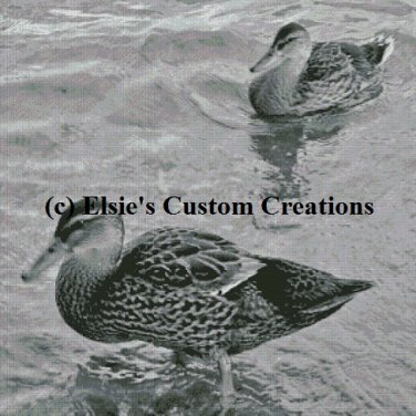 Ducks 1 - Grey Scale - PDF Cross Stitch Pattern